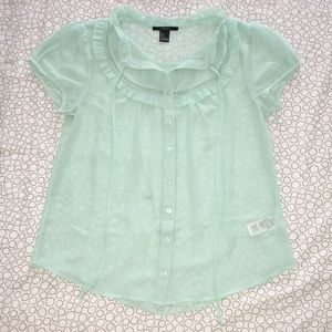 Forever 21 Mint Green Button Up Babydoll Blouse